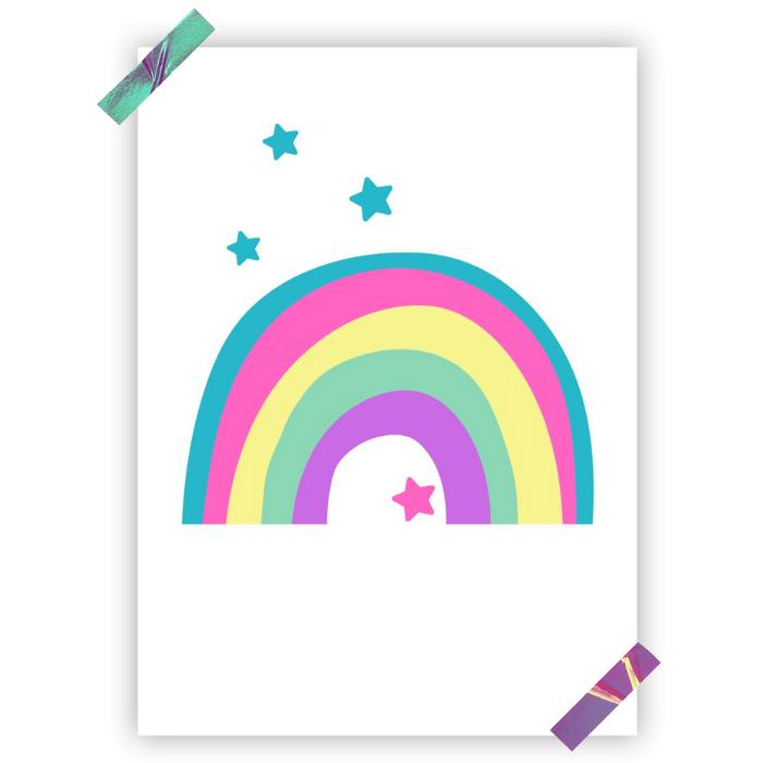 Poster colorido quarto infantil  arco íris candy