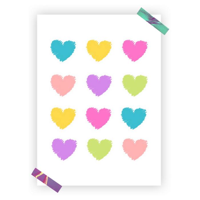 Poster colorido quarto infantil coração