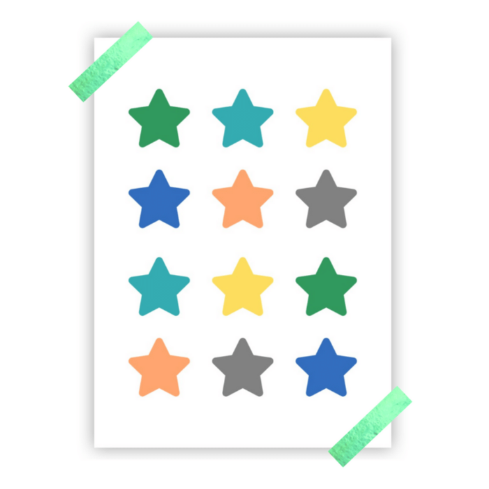Poster colorido quarto infantil estrelas