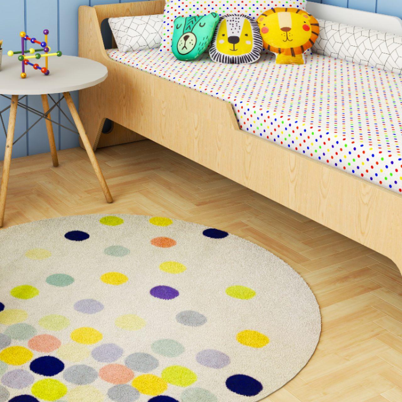 Tapete quarto infantil redondo estampa Confete azul