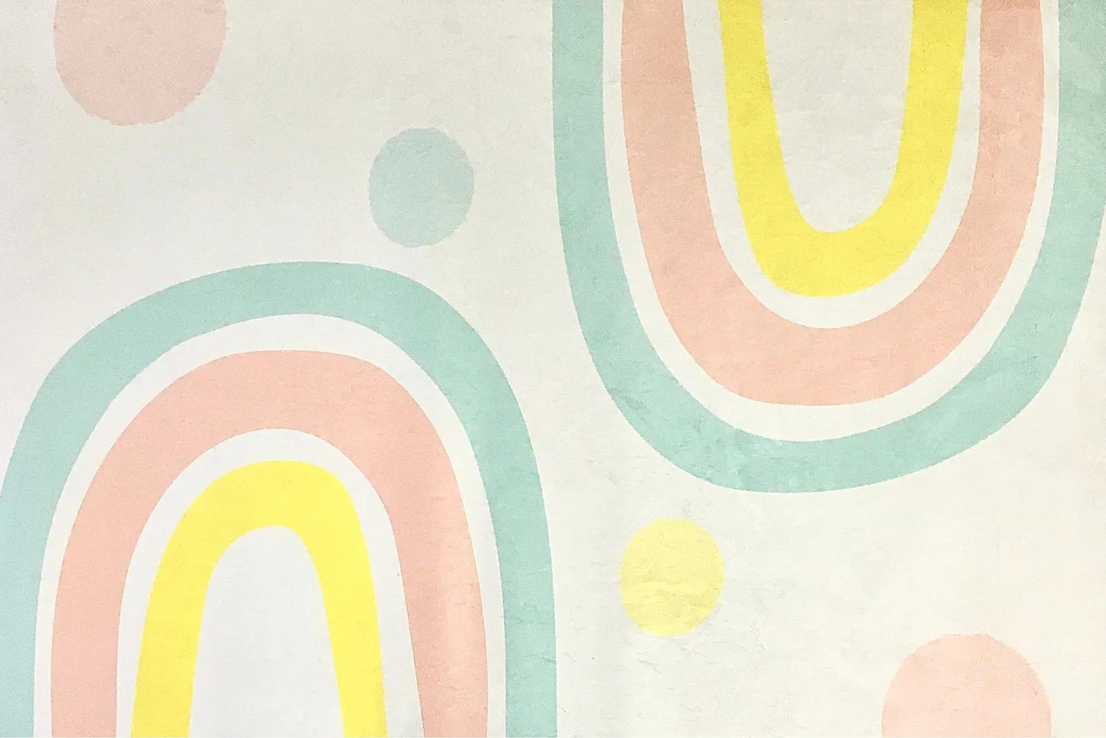 Tapete quarto infantil 100 x 150 cm estampa Arco Íris Candy  - Pomelo Decor