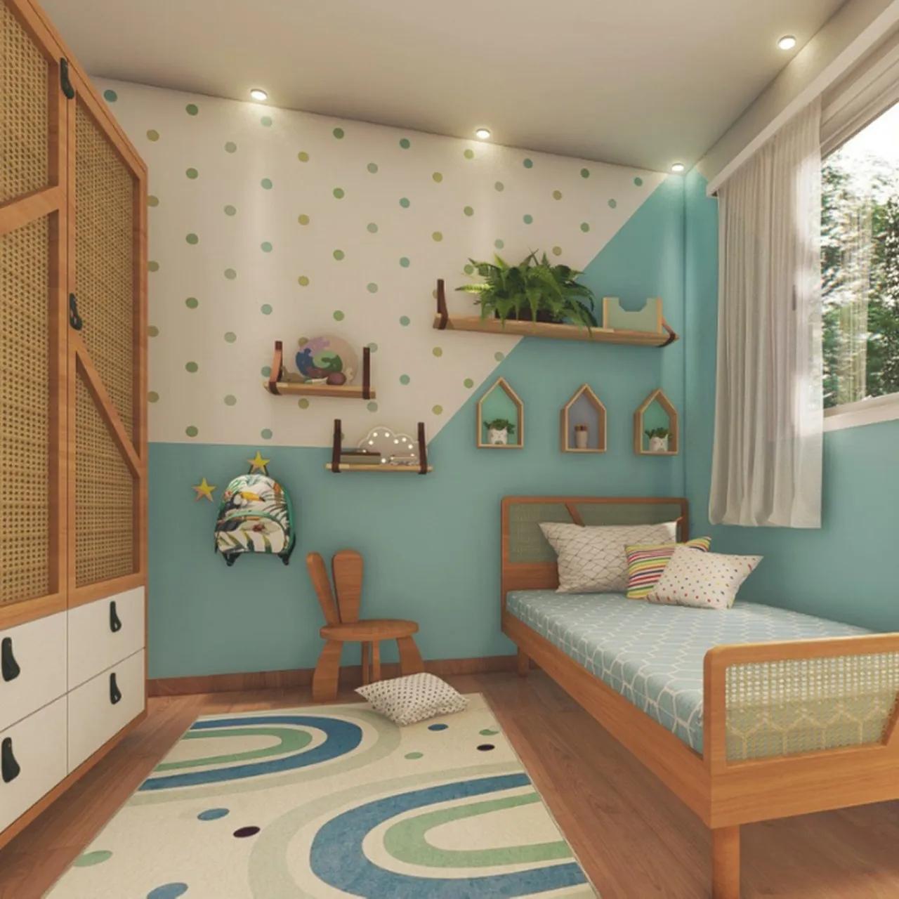 Tapete quarto infantil 100 x 150 cm estampa Arco Íris Blue