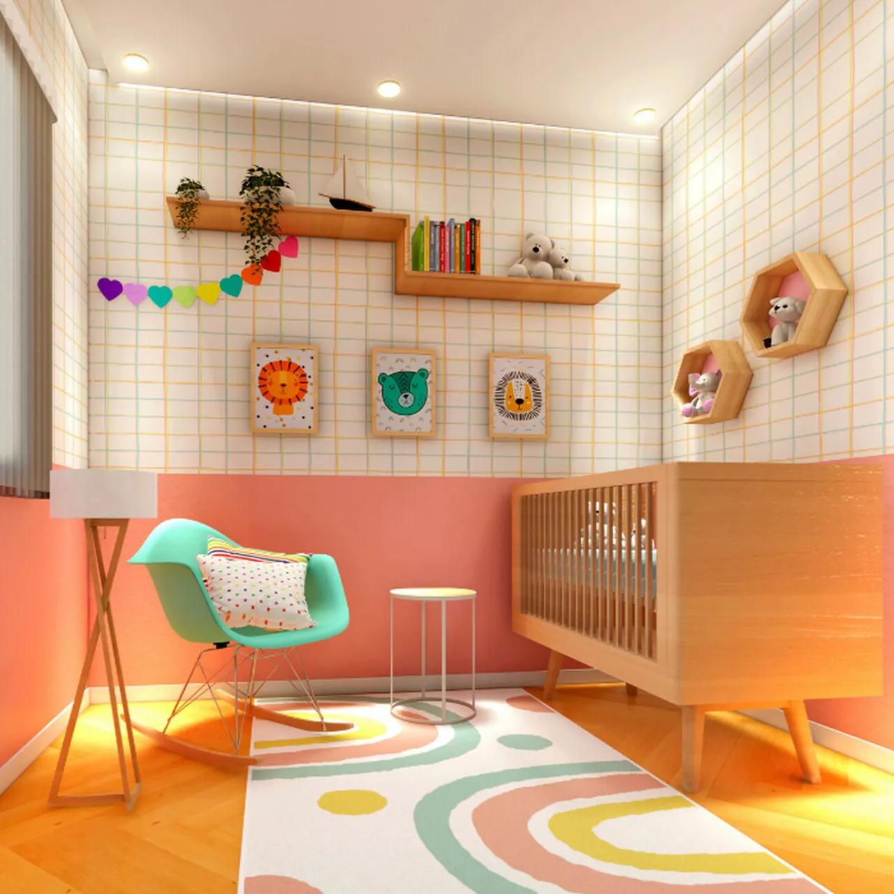 Tapete quarto infantil 100 x 150 cm estampa Arco Íris Candy