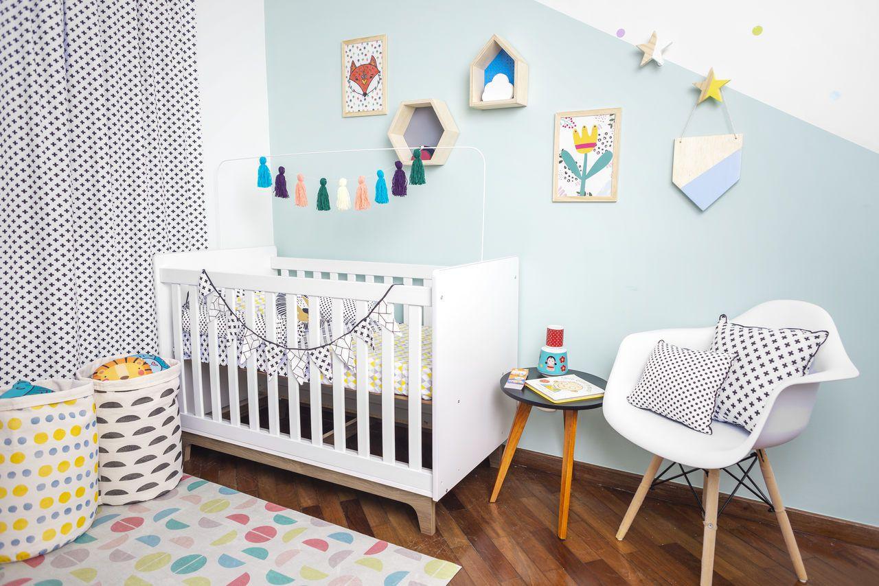 Tapete quarto infantil estampa Colorball Branco  - Pomelo Decor