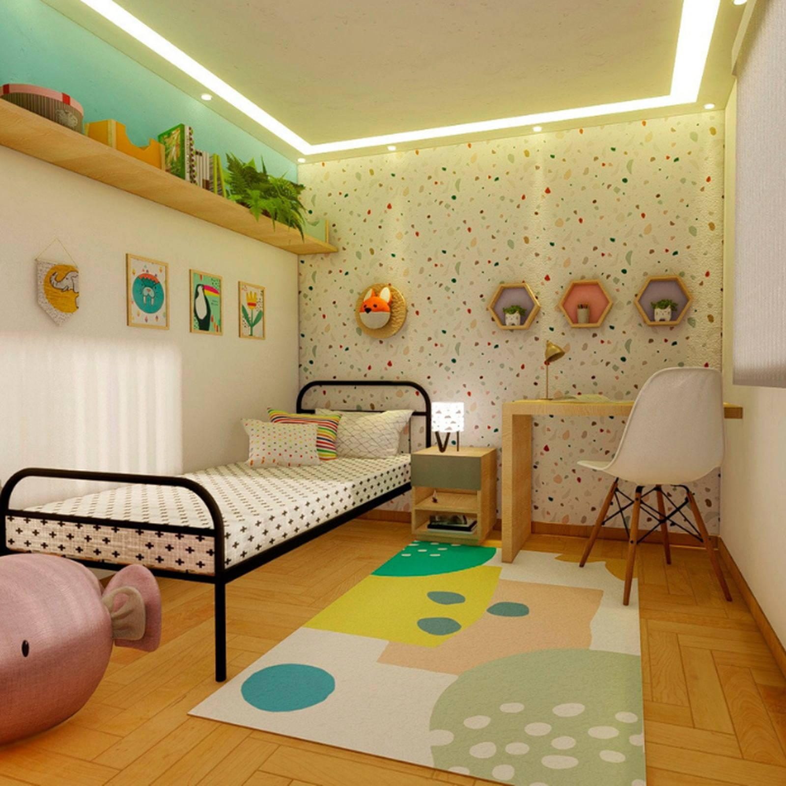 Tapete quarto infantil estampa Natureza  - Pomelo Decor