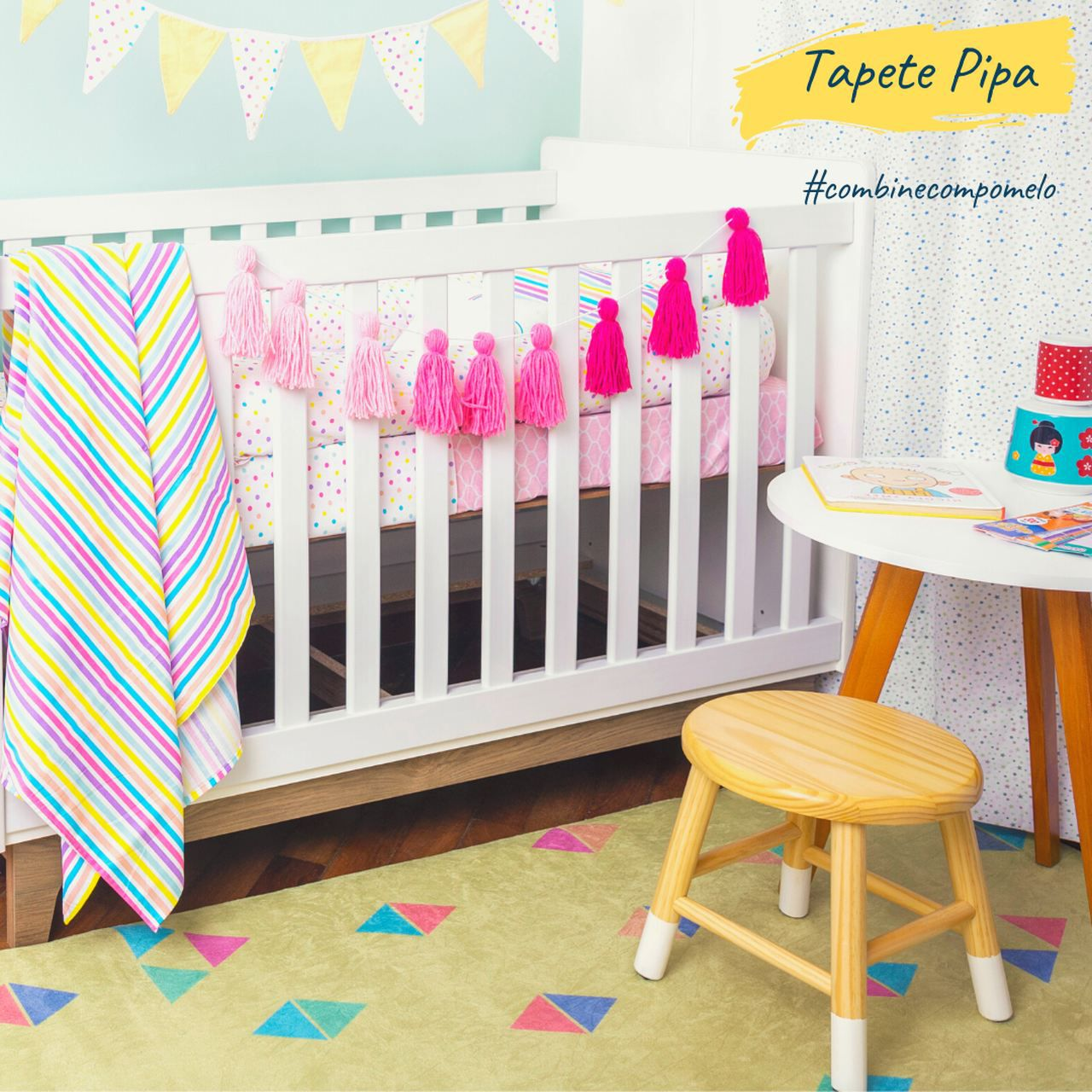 Tapete quarto infantil estampa Pipas  - Pomelo Decor