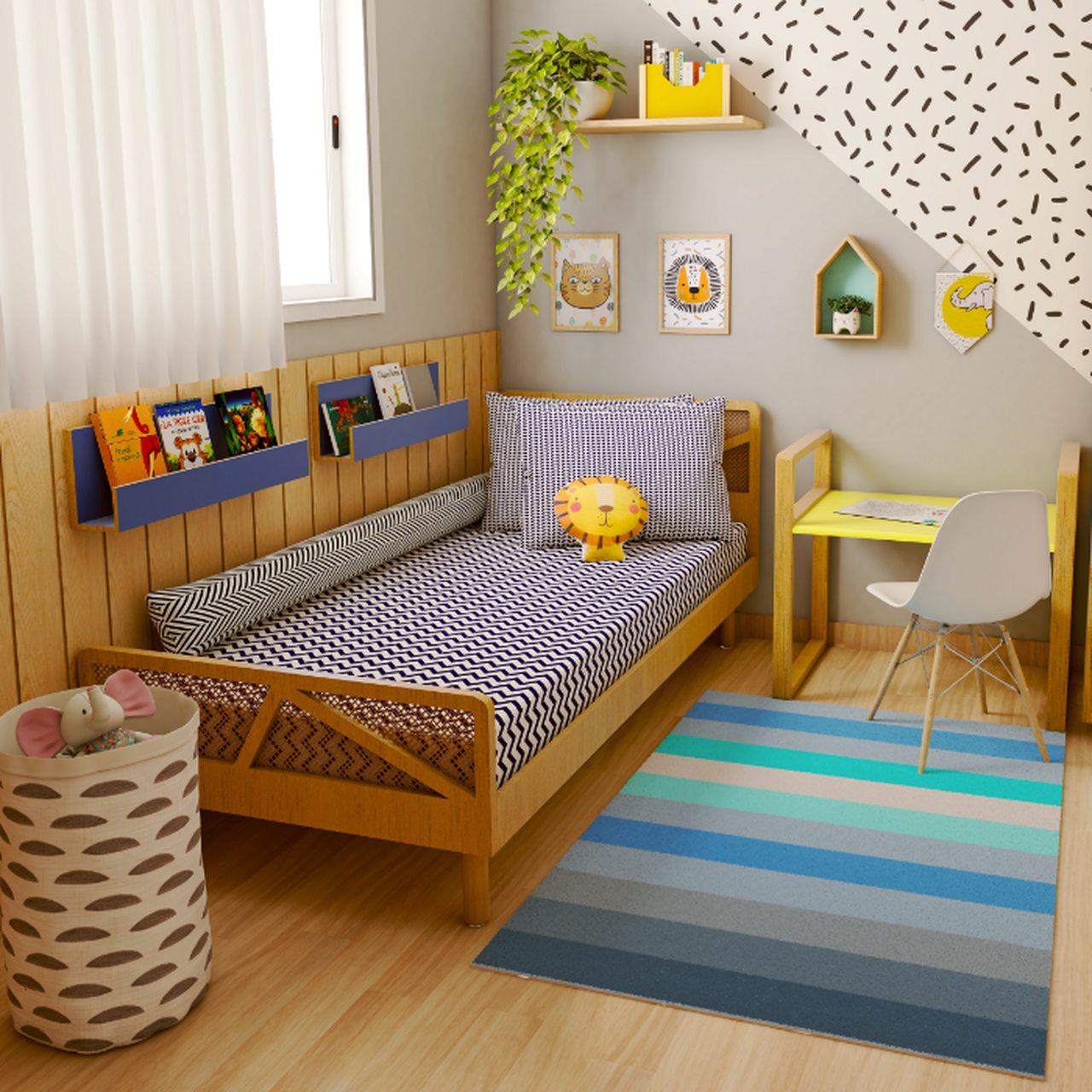 Tapete quarto infantil estampa Listrado azul