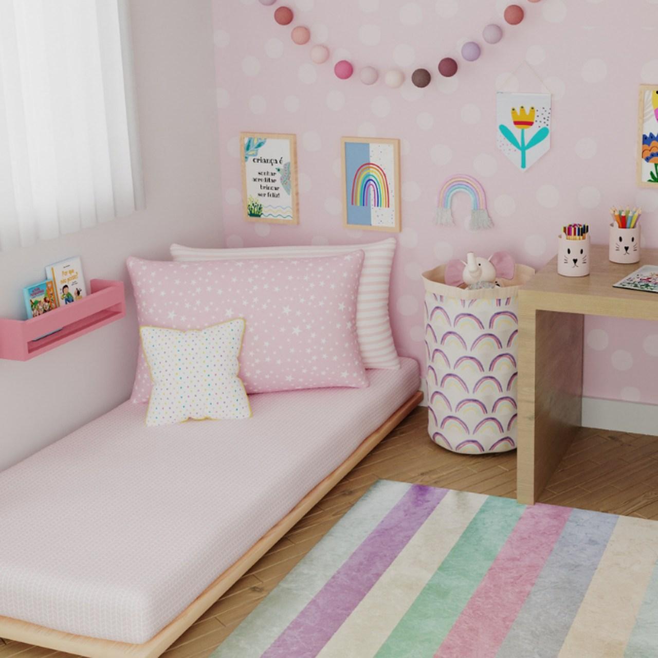 Tapete quarto infantil Listrado pink medida especial
