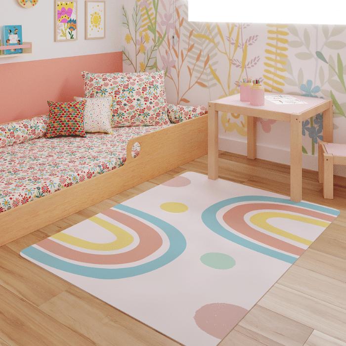 Tapete quarto infantil playmat arco íris candy