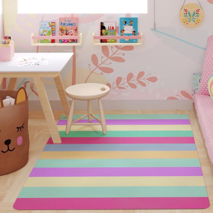 Tapete quarto infantil playmat listrado pink
