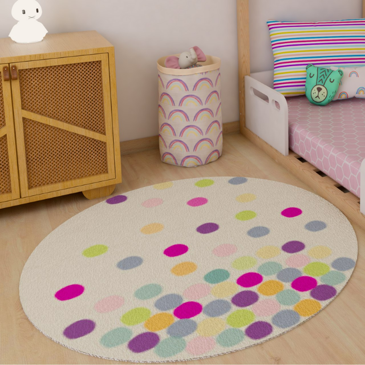 Tapete quarto infantil redondo estampa Confete pink