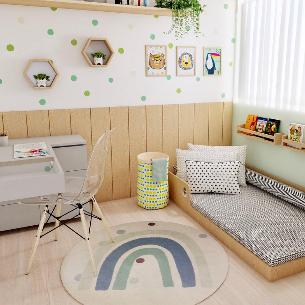 Tapete redondo quarto infantil estampa Arco íris azul  - Pomelo Decor