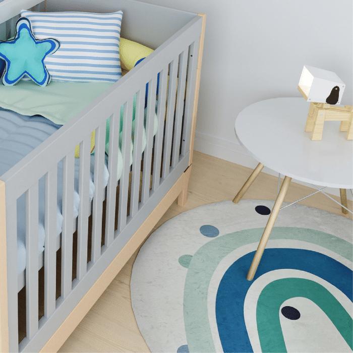 Tapete redondo quarto infantil estampa Arco íris azul