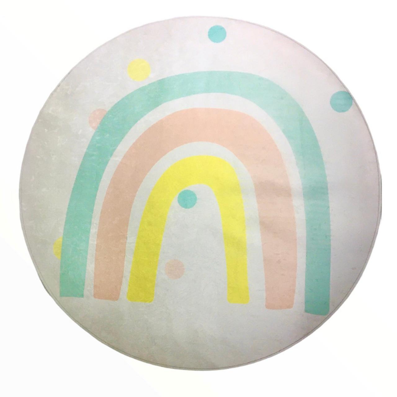 Tapete redondo quarto infantil estampa Arco íris candy