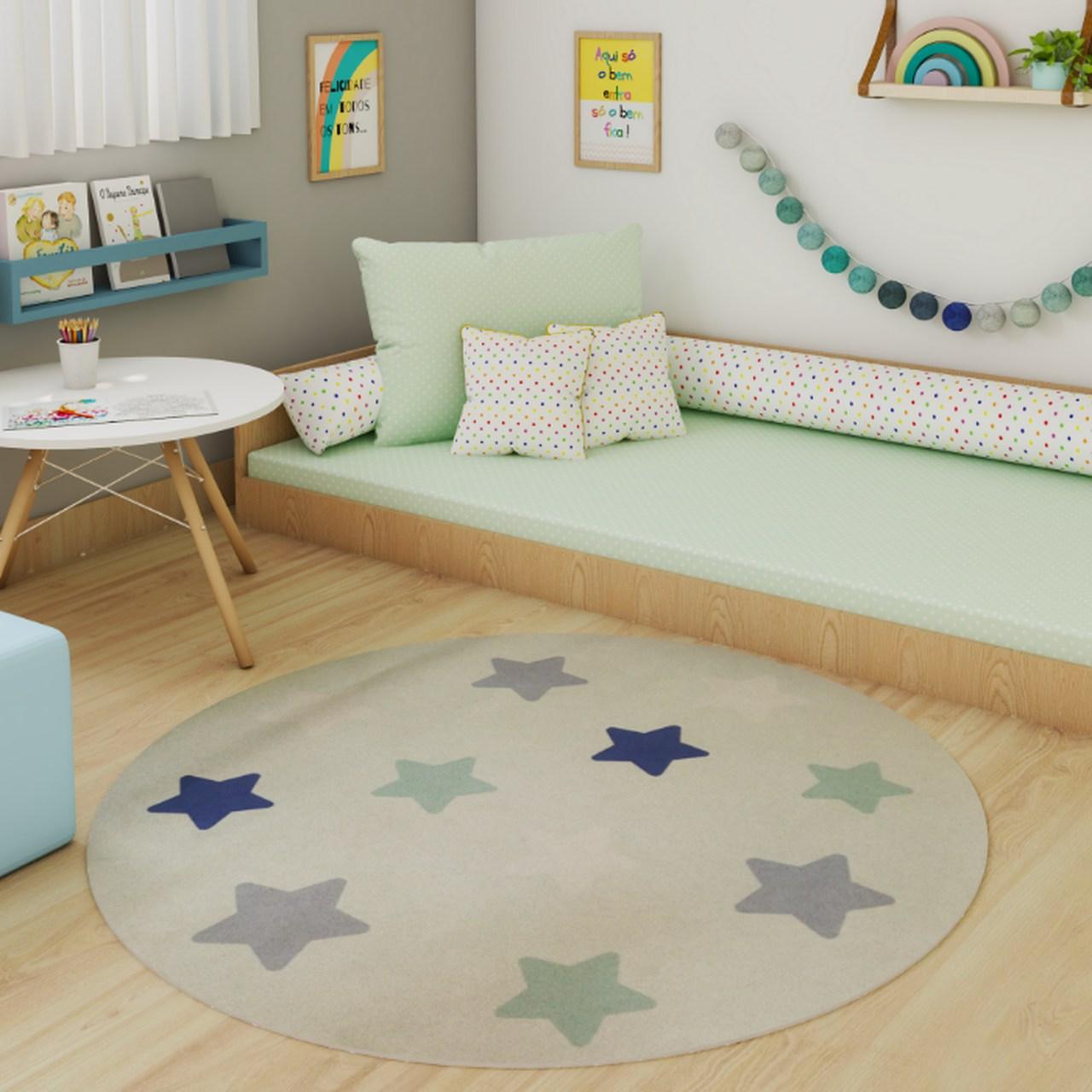 Tapete redondo quarto infantil estampa Estrelas