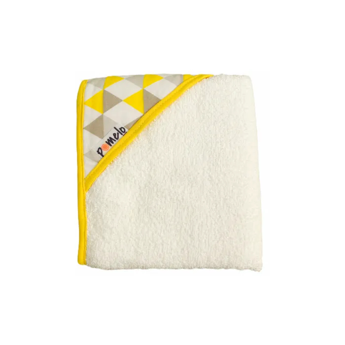 Toalha de bebê com capuz 100% algodão Losango amarelo