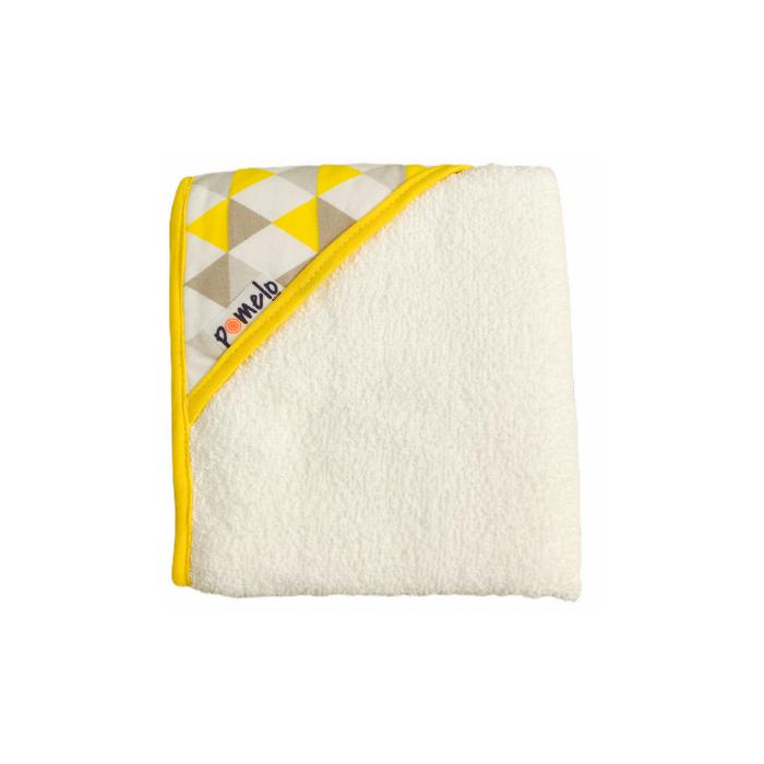 Toalha de bebê com capuz 100% algodão Losango amarelo  - Pomelo Decor