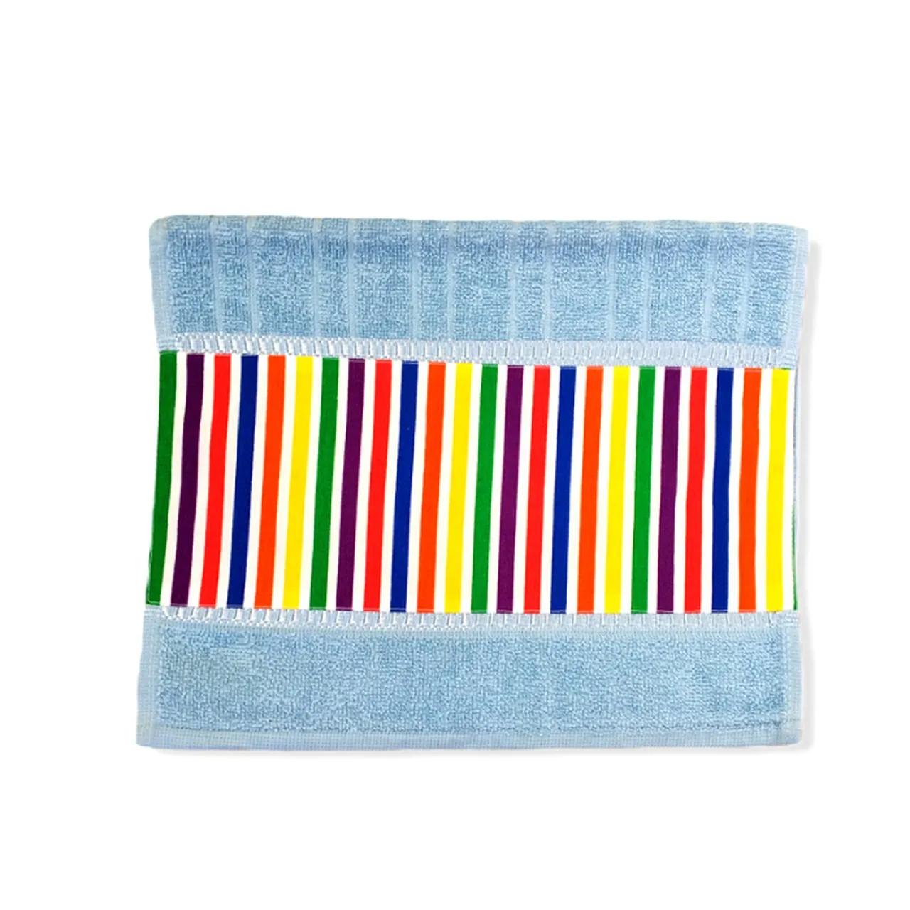 Toalha de rosto infantil 100% algodão Listrado Color azul