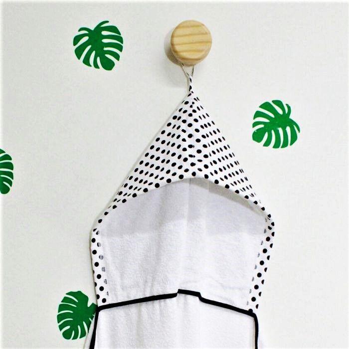 Toalha de banho infantil com capuz 100% algodão Confete Black
