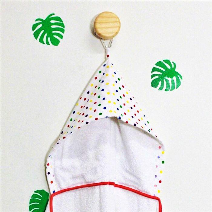 Toalha de banho infantil com capuz algodão Confete color