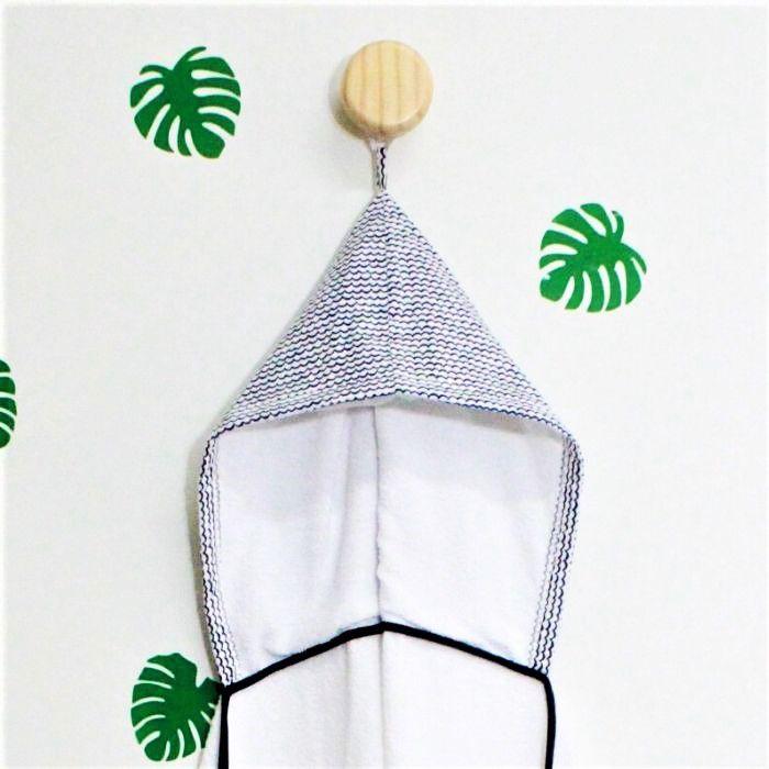Toalha de banho infantil com capuz 100% algodão Ondinha  - Pomelo Decor