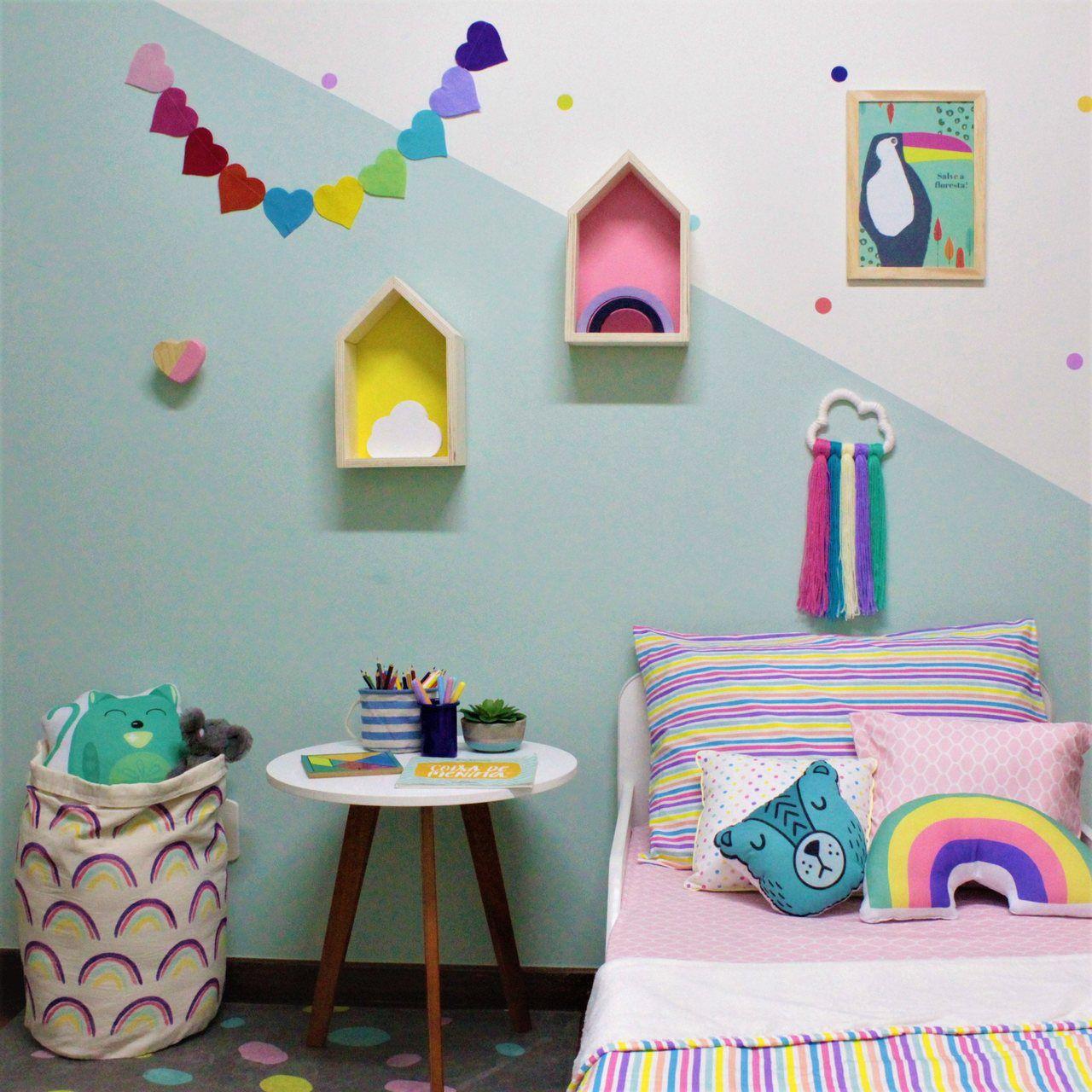 Varal decorativo de parede Coração color