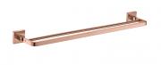 Porta Toalha De Banho Barra Dupla - Quadrado Em Latão Rose Gold Fosco HB-A0129RF