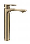 Torneira Misturador Monocomando Dourado Fosco Redondo Alto Para Banheiro M0106DF