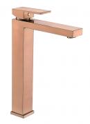 Torneira Misturador Monocomando Rose Gold Fosco Quadrado Alto Para Banheiro M0102RF