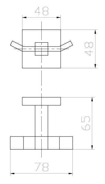 Cabide Duplo Para Banheiro - Quadrado Em Latão Dourado Fosco HB-A0120DF