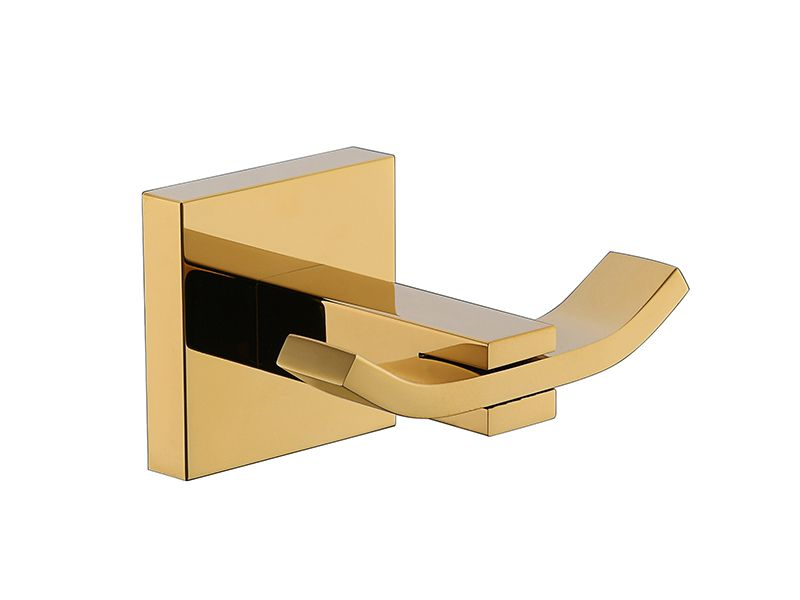 Cabide Duplo Para Banheiro - Quadrado Em Latão Dourado HB-A0120D