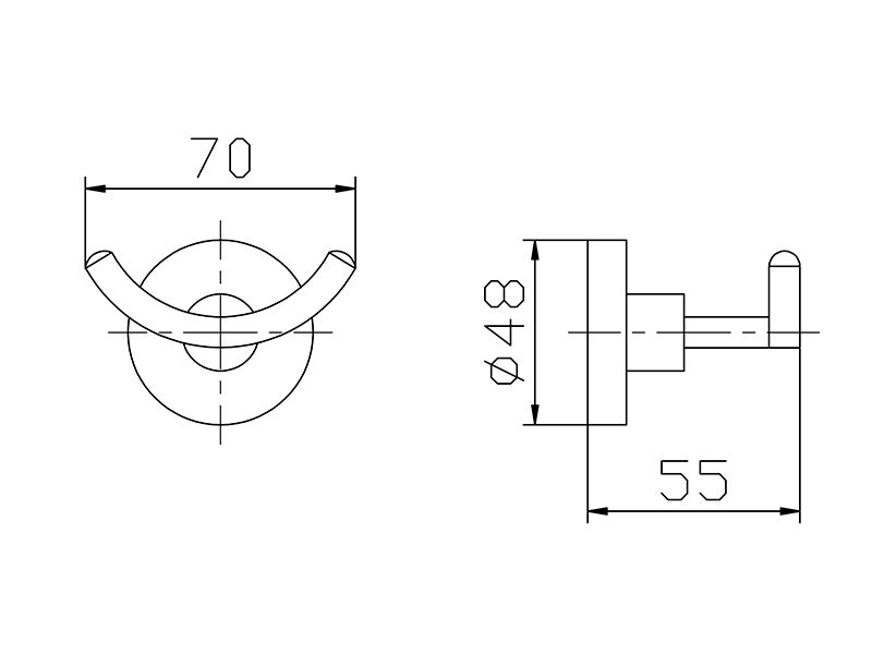Cabide Duplo Para Banheiro - Redondo Em Latão Preto Fosco HB-A0220P