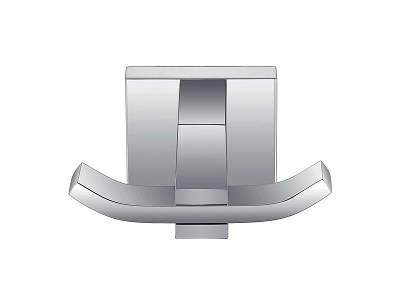 Cabide Gancho Duplo Para Banheiro - Quadrado Em Latão Cromado HB-A0120