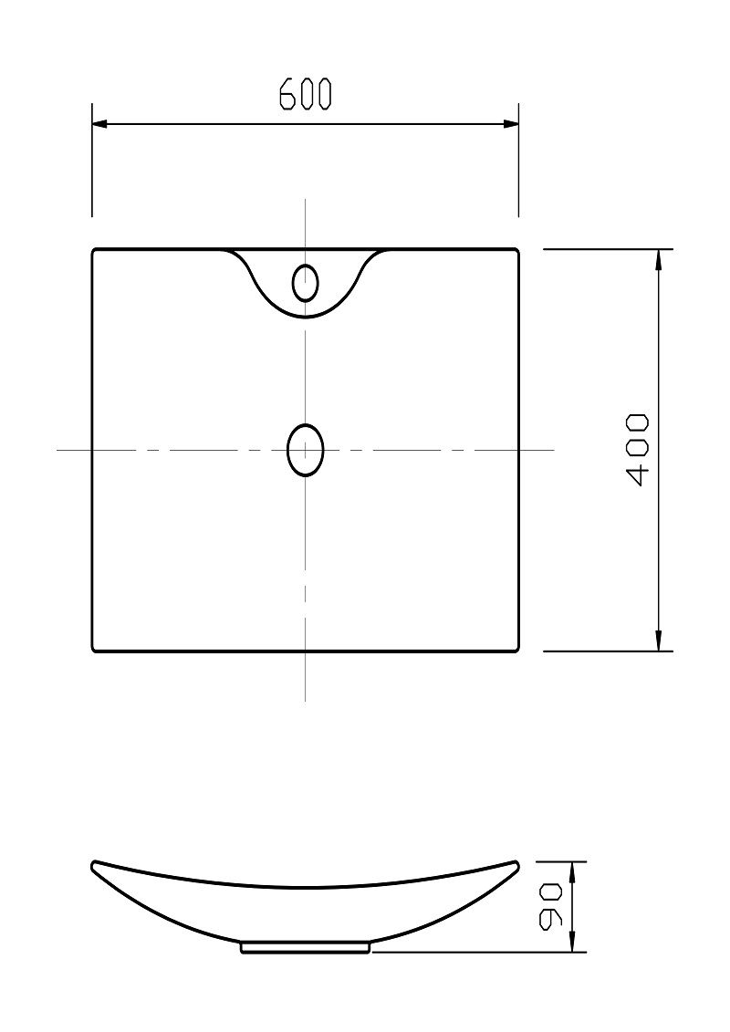 Cuba De Apoio / Sobrepor Retangular Branca HB-C0103C