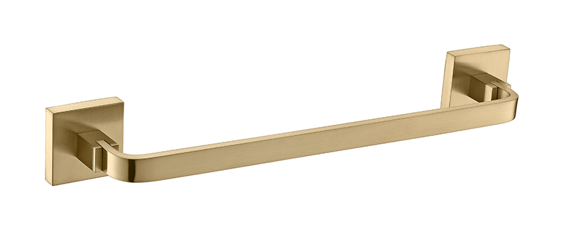 Kit De Acessório Quadrado Em Latão Dourado Fosco Para Banheiro 4 Peças AK002DF
