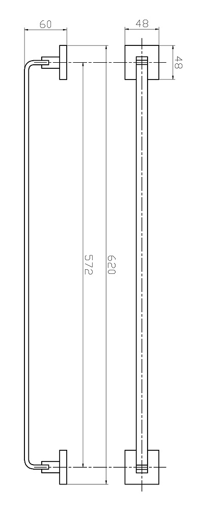 Porta Toalha Banho Barra Simples - Quad. Em Latão Rose Gold Fosco HB-A0127RF