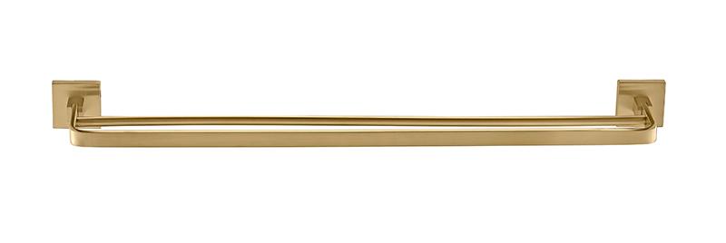 Porta Toalha De Banho Barra Dupla - Quadrado Em Latão Dourado Fosco HB-A0129DF