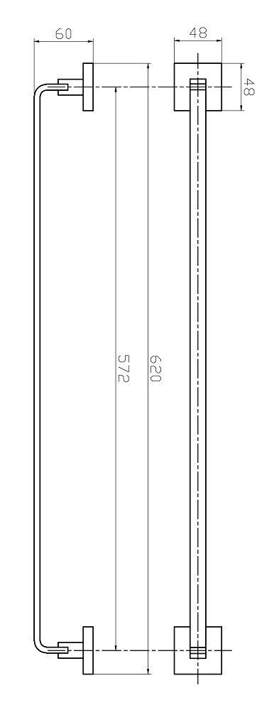 Porta Toalha De Banho Barra Simples - Quadrado Em Latão Cromado HB-A0127