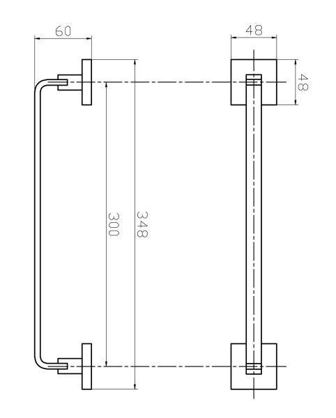 Porta Toalha De Rosto Barra 30 cm - Quadrado Em Latão Cromado HB-A0128