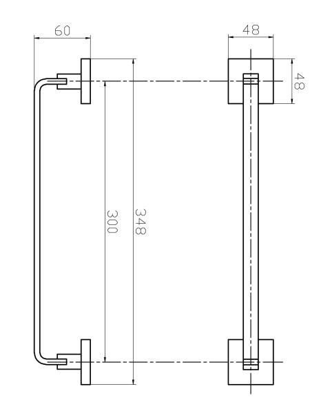 Porta Toalha De Rosto Barra 30 cm - Quadrado Em Latão Preto Fosco HB-A0128P