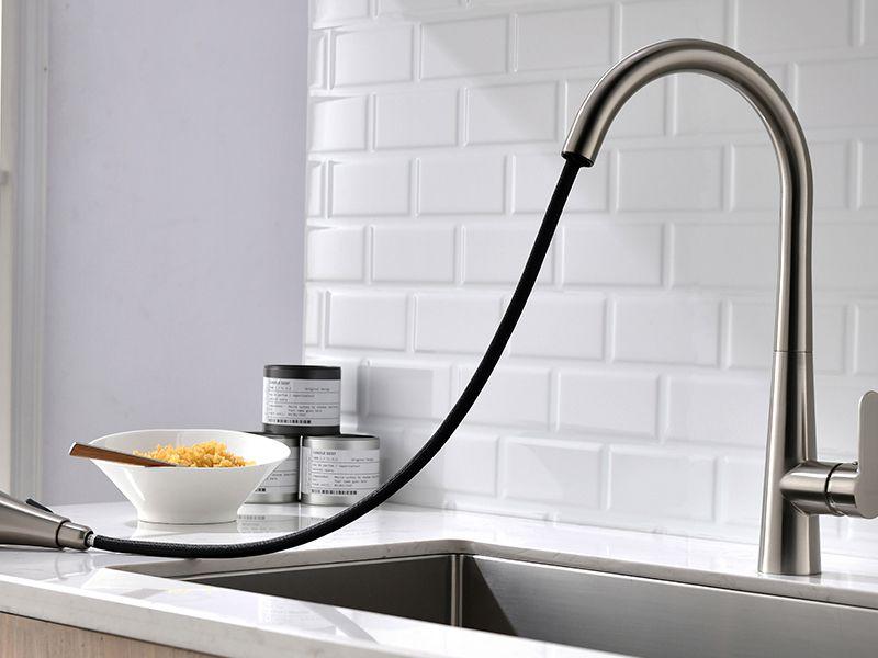 Torneira Cozinha Aço Escovado Extensível Gourmet Misturador HB-M0107L