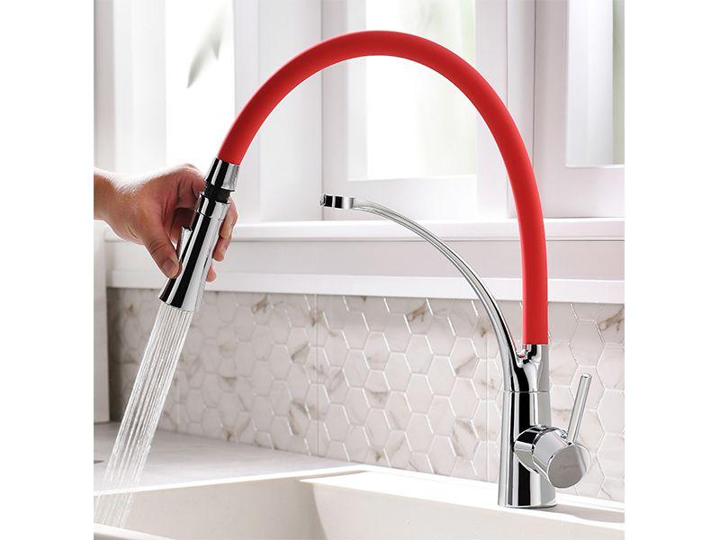 Torneira Cozinha Vermelho Flexível Gourmet Misturador Mesa HB-M0108