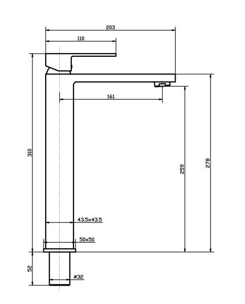 Torneira Misturador Monocomando Cromado Quadrado Alto Para Banheiro M0102