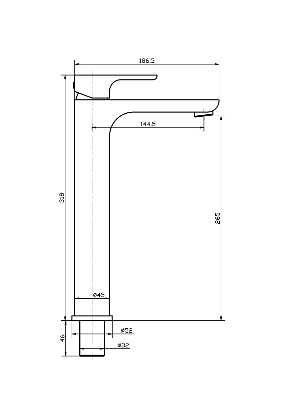 Torneira Misturador Monocomando Cromado Redondo Alto Para Banheiro M0106