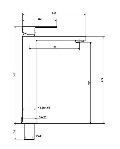 Torneira Misturador Monocomando Dourado Fosco Quadrado Alto Para Banheiro M0102DF