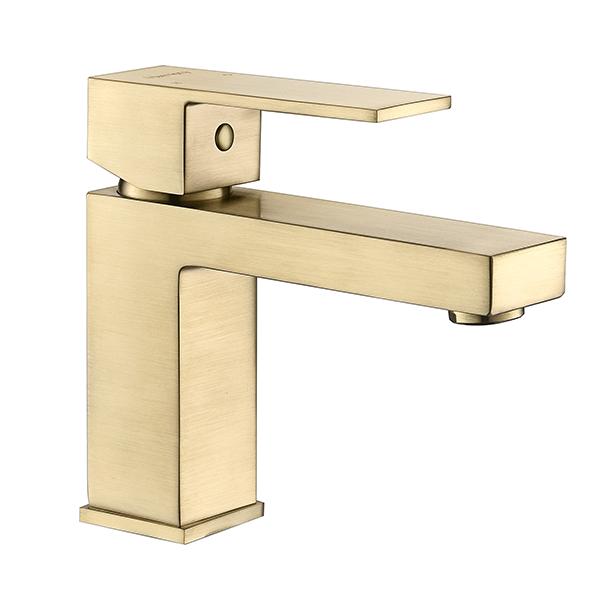 Torneira Misturador Monocomando Dourado Fosco Quadrado Para Banheiro M0101DF