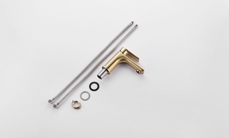Torneira Misturador Monocomando Dourado Fosco Redondo Para Banheiro M0105DF