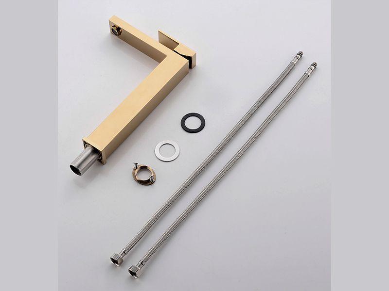 Torneira Misturador Monocomando Dourado Quadrado Alto Para Banheiro M0102D