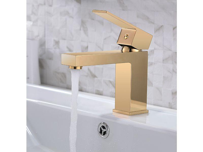 Torneira Misturador Monocomando Dourado Quadrado Para Banheiro M0101D
