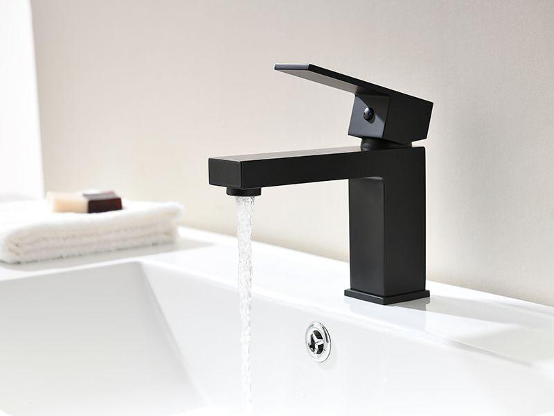 Torneira Misturador Monocomando Preto Fosco Quadrado Banheiro 8871